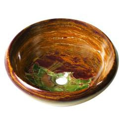 Round Gold Onyx Stone Tapered Rim Vessel