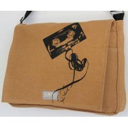 Two Tree Designs Handmade Medium Tan Cassette Tape Messenger Bag