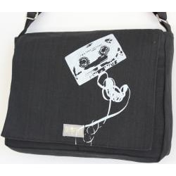 Two Tree Designs Handmade Medium Black Cassette Tape Messenger Bag