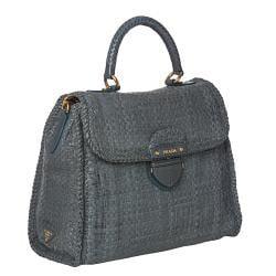 Prada Hand-woven Braided Blue Suede Madras Flap-over Satchel Bag