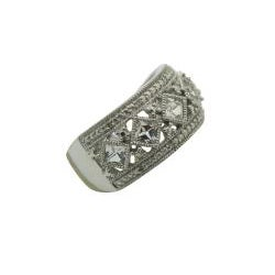 Gioelli Sterling Diamond and Created White Sapphire Silver Ring (I1-I2, IJ)