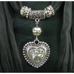 Jewelry Scarf with Heart Shaped Clear Stone Pendant