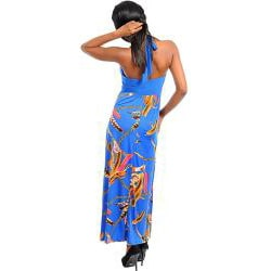 Stanzino Women's Blue and Gold Printed Halter Maxi Dress