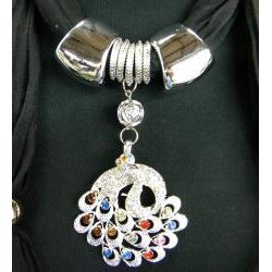 Fashion Jewelry Scarf Black with Multi Color Peacock Pendant