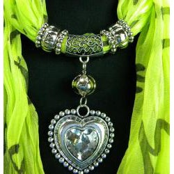 Pea Green Fashion Jewelry Scarf with Silver & Crystal Heart Pendant