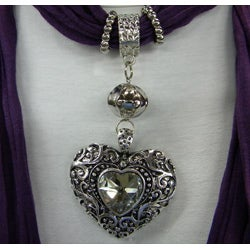 Purple Fashion Jewelry Scarf with Silver and Crystal Heart Pendant