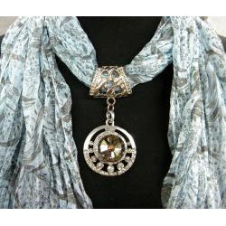 Fashion Jewelry Scarf with Blue Pint and Smokey Topaz Pendant