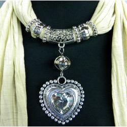 Fashion Jewelry Scarf Beige with Silver and Crystal Pendant