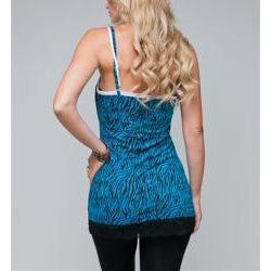 24/7 Frenzy Women's Blue Zebra Lace Trim Camisole