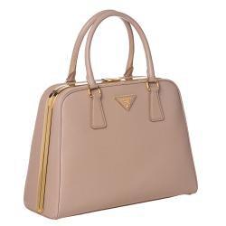 Prada 'Lux' Mauve Saffiano Leather Pyramid Frame Bowler Bag