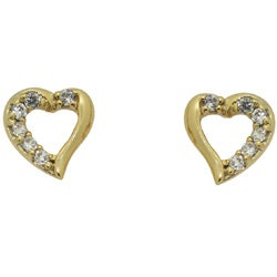 Gold over Silver Children's Cubic Zirconia Heart Earrings