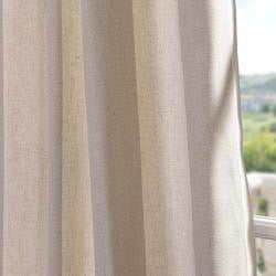 Veranda Khaki Stripe Linen Blend Curtain Panel