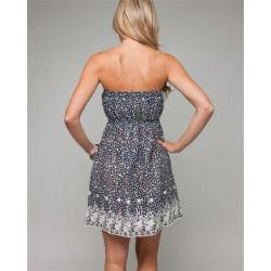24/7 Frenzy Junior's Ruched Embroidered Hem Dress