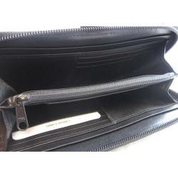 Women's Black Genuine Leather Wrap Around Zip Checkbook Wallet