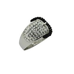 Silver Rhodium Plated Crystal Black Buckle Ring