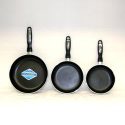 Alpine Cuisine 3-piece Gourmet Aluminum Fry Pan Set with Bonus Bamboo Tools