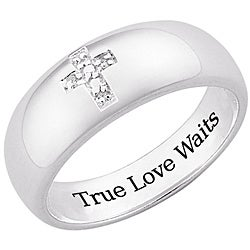 Sterling Silver 'True Love Waits' Pave Diamond Cross Ring