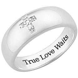 Sterling Silver 'True Love Waits' Pave Diamond Cross Ring