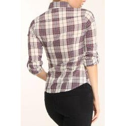 4Now Fashions Women's Purple Plaid Button-up Boyfriend Shirt