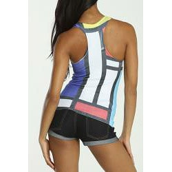 4Now Fashions Women's Racerback Casual Stretchy Print Sporty Tank Top