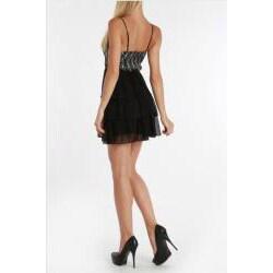 247 Frenzy Women's Spaghetti Strap Tiered Lace Dress