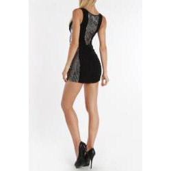 247 Frenzy Junior's Black Sequined Ruched Tank Dress