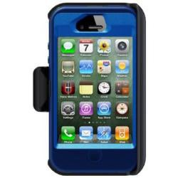 OtterBox Defender Night Blue Protective Case and Holster for iPhone 4/4S With 2000mAh Car Charger & Velcro Tie