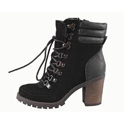 Blossom by Beston Women's 'Alpha-1' Black Lace-up Boots