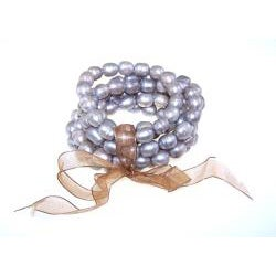 Freshwater Pearl and Organza Ribbon 7-piece Stretch Bracelet Set (9-10 mm)