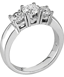 Miadora 14k Gold 1-1/2ct TDW Round Diamond Three-Stone Ring (J-K, I1-I2)