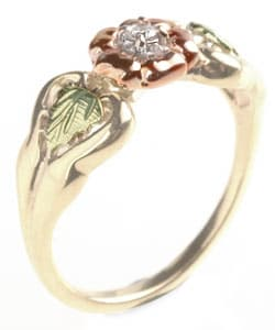 Black Hills Gold Flower and Diamond Ring