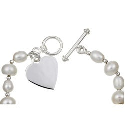Sterling Essentials Sterling Silver 7-inch Freshwater Pearl Heart Bracelet