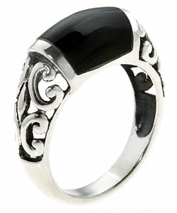 Tressa Sterling Silver Created Black Onyx Filigree Ring