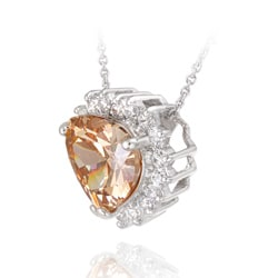Icz Stonez Sterling Silver Champagne CZ Heart Pendant