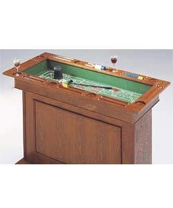 Description: Multi Function Oak Two Drawer Game Bar Table.