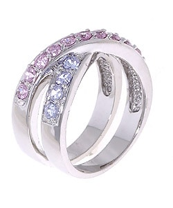 Icz Stonez Sterling Silver Pink and Lavender Crossover CZ Ring