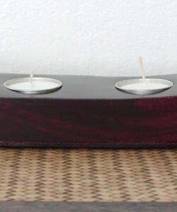 Mango Wood Candleholder Tray w/ Candles (Thailand)
