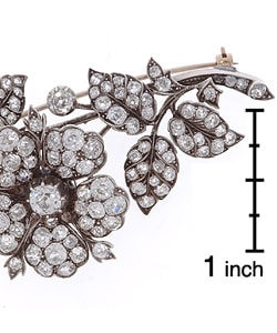 Silver Edwardian 12-ct. Diamond Floral Pin