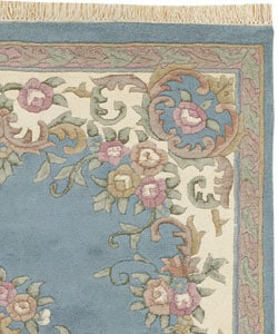 Hand Knotted Blue Aubusson Wool Rug 2 4 X 4 1016213