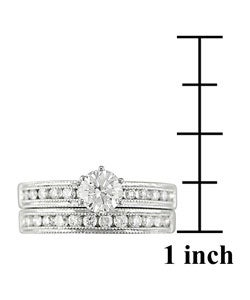 18k White Gold 1-1/8 ct TW Diamond Bridal Ring Set