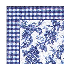 7 6 X 9 6 Hand Hooked Rooster Toile Blue Rug 10308419