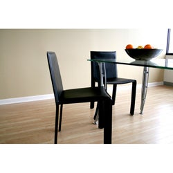 Crystie Black Leather Dining Chairs (Set of 2)