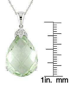 14k White Gold Diamond Green Amethyst Pendant