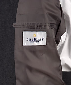 Bill Blass 2 Button Charcoal Wool Blend in Microtec Fabric