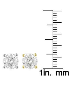 14k Gold 2ct TDW Round Diamond Stud Earrings (E, VS1)