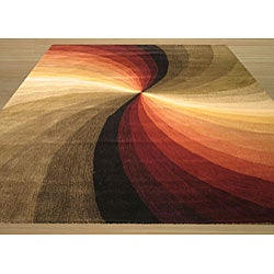Hand-tufted Swirl Wool Rug (5' x 8')