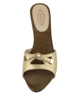 Tod's Gold Leather Slide Sandals