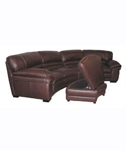 chocolate brown leather sectional sofa storage ottoman