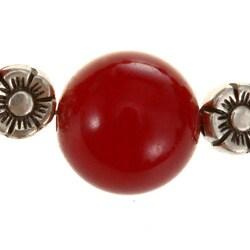 Antiqued Silver Bead and Indian Red Quartz Bracelet