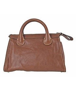 Chloe Brown Leather Edith Satchel Bag - 10679730 - Overstock.com ...